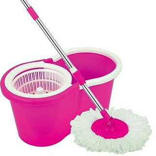 360 Spin Floor Cleaning Easy Bucket PVC Mop with 2 Microfiber Heads Color May vary
