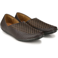 Lzee Mens Black Slip On Loafers