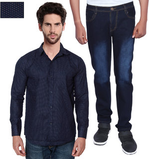 Balino London Men's Regular Fit  Jeans and Regular Collar Shirts Combo