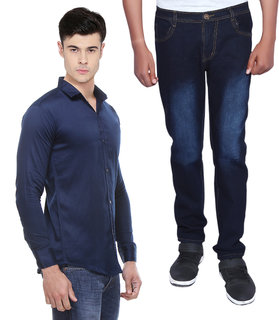 Red Code Men's Regular Fit Jeans and Round Neck Shirt Combo