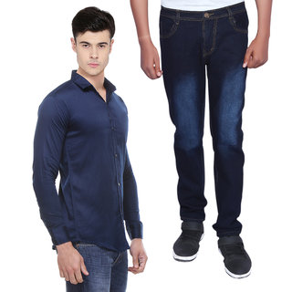 Red Code Stylish Combo of Jeans + Shirt For Men