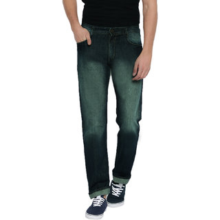 Spain Style Men's Shaded Slim Fit Green Jeans
