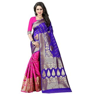 Greenvilla Designs Black And Pink Banarasi Silk Saree