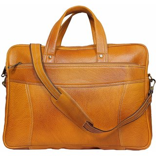 Leather World 15 inch Rust Mango Genuine Leather Laptop Office Bag