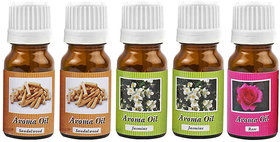 Cocodoes Aroma Oil Home Liquid Air Freshener Set Of 5 (2SANDALWOOD 1ROSE 2JASMINE 50ml)