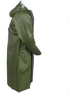 Green Knee Length Long Rain Coat