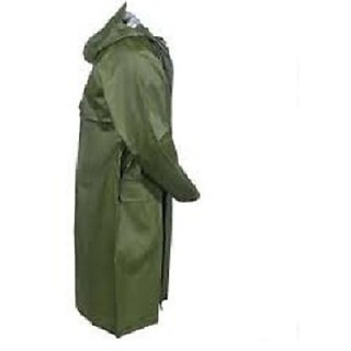 Green Knee Length Long Rain Coat