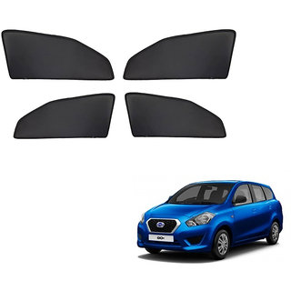 Generic Z Black  Magnetic  Curtain Car Sunshades Set Of 4-Datsun go Plus