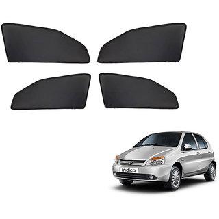 Generic Z Black  Magnetic  Curtain Car Sunshades Set Of 4-Tata Indica