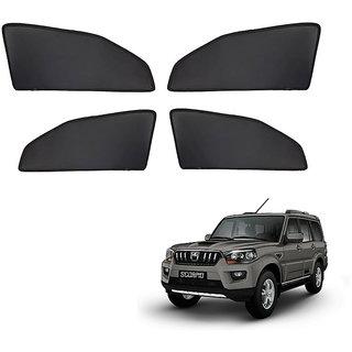 Generic Z Black  Magnetic  Curtain Car Sunshades Set Of 4-Mahindra Scorpio