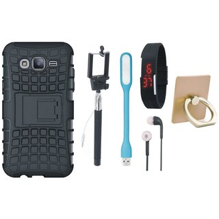 Samsung J7 Max ( SM-G615F  ) Defender Back Cover with Kick Stand with Ring Stand Holder, Selfie Stick, Digtal Watch, Earphones and USB LED Light