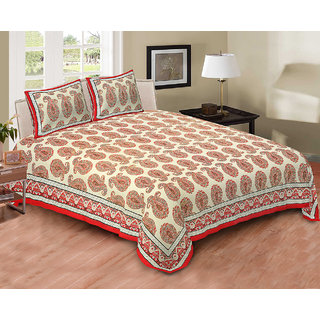 Printage Mughal bed Sheet Double Bed with Pillow Cover BSDP4002RED