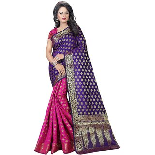 10f9eaeb35bc30 Buy Meia Purple Banarasi Silk Self Design Festive Saree With Blouse Online  - Get 72% Off