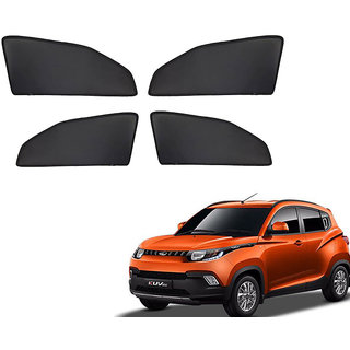 Generic Z Black  Magnetic  Curtain Car Sunshades Set Of 4-Mahindra Kuv 100