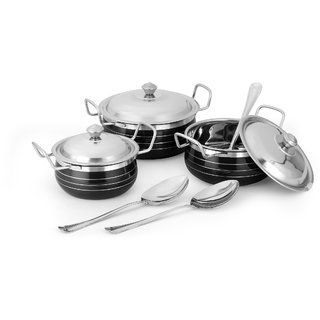 Classic Essential Enamel Stainless Steel Cookware Set of 3 Cook n Serve Casseroles