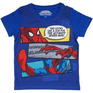 Marvel Spider-Man Blue Polyester T-Shirt For Boys