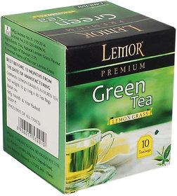 Lemor Lemon Grass Flavored Green Tea Bag box (5 Pack of 10 Tea bag pieces) for Healthy Indian Beverage Drinkers (Brand Outlet)