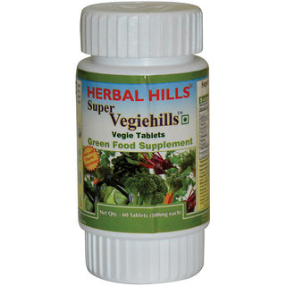 Super Veggiehills,  Daily Veggies-in-a-tablet Superfoods Supplement (Bottle 60 tablets) by Herbalhills - All Natural 100% Whole-Food Veggie Tablet