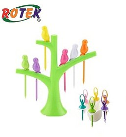 Rotek Combo of  Fruit Fork 1 Piece of 6 Colorful Dancing Dolls and 1 Piece of Fruit Fork in 6 Colorful Birds