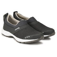 Lzee Men's Synthetic Grey Slip On Sports Shoes