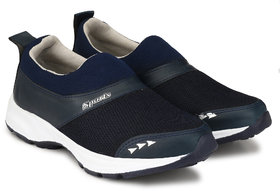 Lzee Men's Synthetic Blue Slip On Sports Shoes
