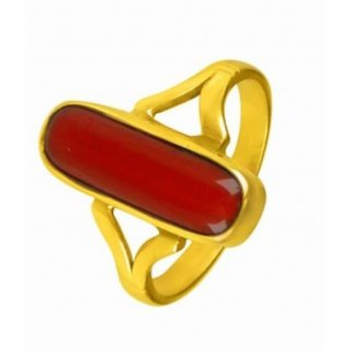 4.25 ratti Natural Red coral Adjustable ring