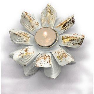 AuraDecor White Lotus Tealight Holder with a Tealight Free