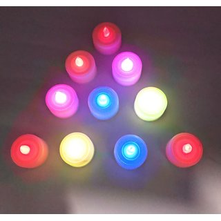 AuraDecor Set of 10 LED Multicolour Tealight Candles Battery Operated