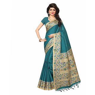 Ethinista Fashion Mart Blue Colored Bhagalpuri Silk Saree With Matching Blouse