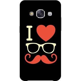 Print Opera Hard Plastic Designer Printed Phone Cover for Samsung Galaxy E7 2015 - I love moustache white
