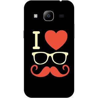 Print Opera Hard Plastic Designer Printed Phone Cover for Samsung Galaxy J2 2016 - I love moustache white