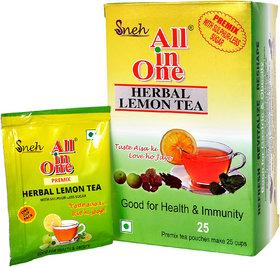All in one Herabal Lemon Tea Premix Sulphur less sugar(25 Pouches)