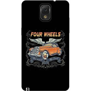 Print Opera Hard Plastic Designer Printed Phone Cover for Samsung Galaxy Note 3 - Four wheels