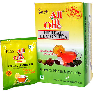 All in one Herabal Lemon Tea Premix Sulphur less sugar(25 Pouches)