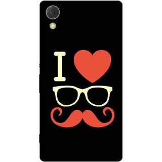 Print Opera Hard Plastic Designer Printed Phone Cover for Sony Xperia C6 - I love moustache white