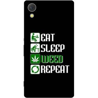 Print Opera Hard Plastic Designer Printed Phone Cover for Sony Xperia C6 - Eat sleep weed repeat