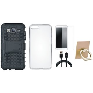 Oppo A37 Shockproof Tough Armour Defender Case with Ring Stand Holder, Silicon Back Cover, Tempered Glass and USB Cable