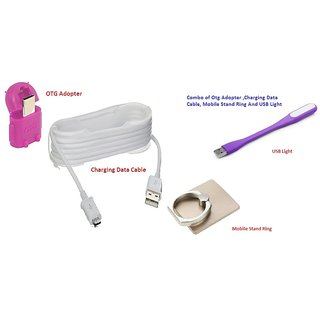 Combo of Charging Data Cable, USB Light, MObile Stand Ring And OTG Adopter