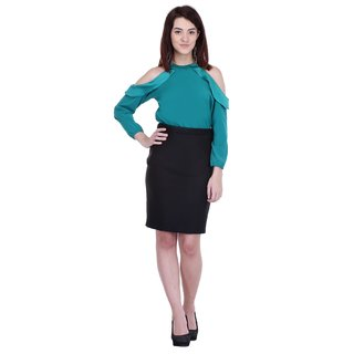 AIDA Satin Crepe Solid Top For Women'S - Turquoise