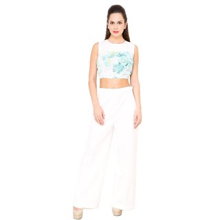 AIDA Jersey Crepe Floral Print Crop Top For Women'S - White And Blue