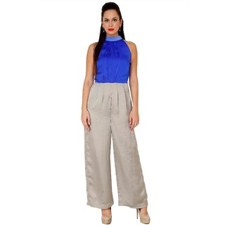 AIDA Satin Crepe Solid Two Toned Jumpsuit For Women'S - Blue And Grey