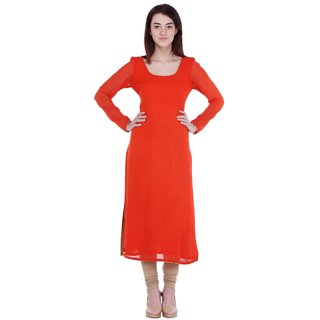AIDA Georgette Solid Kurta For Women'S - Orange