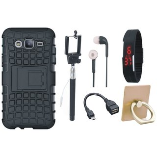 Motorola Moto E4 Plus Dual Protection Defender Back Case with Ring Stand Holder, Selfie Stick, Digtal Watch, Earphones and OTG Cable