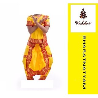 Bharatnatyam Classical Dance Dress Yellow Color Costume For Kids