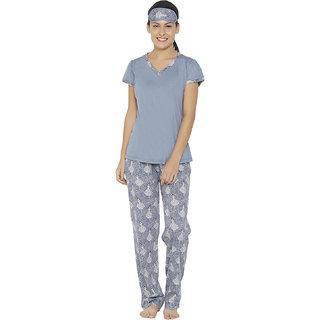 cdbb811835 Buy Libertina Steel Blue color Cotton Modal Tshirt & Pajama set for ...