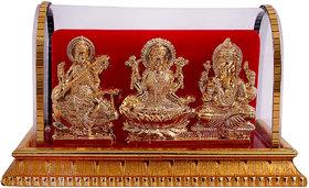 Gold Plated Lord Laxmi Ganesha  Saraswati Statue Hindu Goddess Laxmi And God Ganesh Handicraft Idol Diwali Decorative Spiritual Puja Vastu Showpiece Figurine - Religious Pooja Gift item  Murti for Mandir / Temple / Home Decor / Office