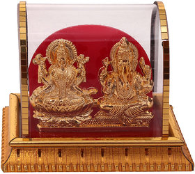 Gold Plated Lord Laxmi Ganesha Statue Hindu Goddess Laxmi And God Ganesh Handicraft Idol Diwali Decorative Spiritual Puja Vastu Showpiece Figurine - Religious Pooja Gift item  Murti for Mandir / Temple / Home Decor / Office