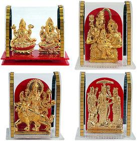 Set of 4 Combo Gold Plated Lord Laxmi Ganesha/Ramdarbar/Maa Durga/Shiv Parivar Handicraft Idol Diwali Decorative Spiritual Puja Vastu Showpiece Figurine - Religious Pooja Gift item  Murti for Mandir / Temple / Home Decor / Office