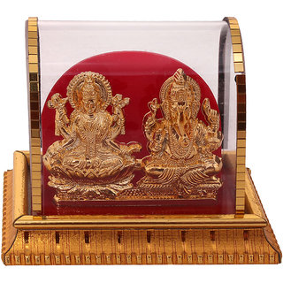 Gold Plated Lord Laxmi Ganesha Statue Hindu Goddess Laxmi And God Ganesh Handicraft Idol Diwali Decorative Spiritual Puja Vastu Showpiece Figurine - Religious Pooja Gift item  Murti for Mandir / Temple / Home Decor / Office