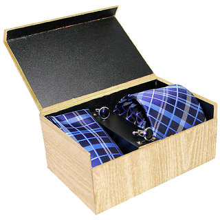 Gift Set of Blue Necktie, Pocket Square And Cufflinks Combo of 3 By Treemoda  Premium Design  Gifting Product